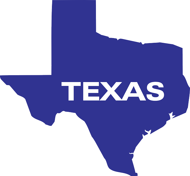 The state of Texas in blue with the state name written on it.